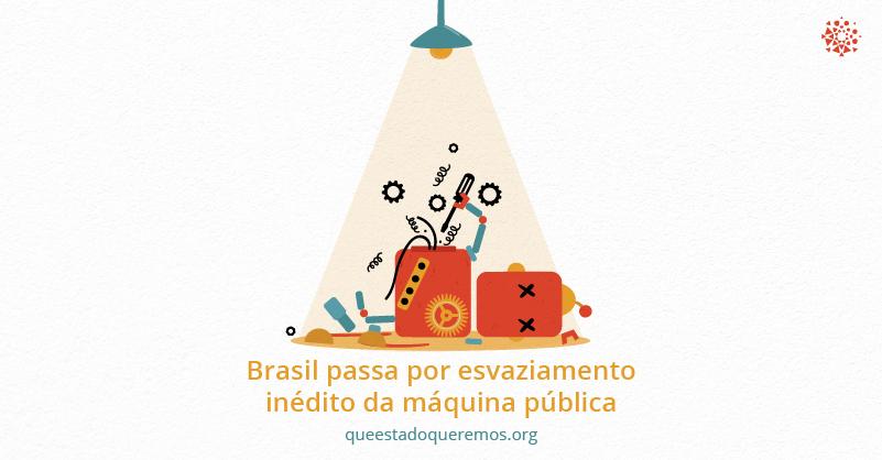"""Imagem de máquina quebrada com o texto """"Brasil passa por esvaziamento inédito da máquina pública"""""""