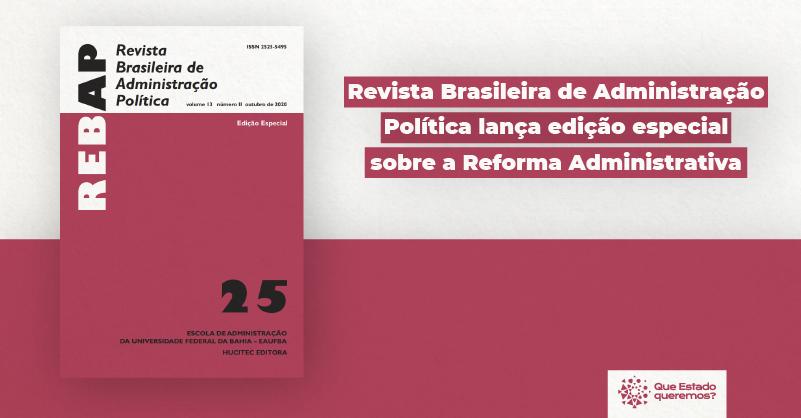 """Capa da Revista Brasileira de Administração Política com o título """"Revista Brasileira de Administração Política lança edição especial sobre a reforma administrativa"""""""